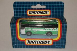 MATCHBOX #MB67 IKARUS COACH BUS, WHITE & GREEN, CITY LINE TOURIST, NEW IN BOX