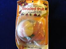 Vintage Fibre-Craft Beaded Fruit Kit Peach Old Stock SEALED PKG Pin Sequin A47