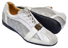 Mauri ITALY Crocodile Skin/Leather/Fabric White/Gray Casual Sneakers Size 10