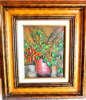 Vintage Oil Painting Flowers In Vase Signed with Wood Frame