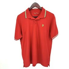 Ferrari F-1 Racing Polo Shirt Sz L Red Logo Formula 1 Shell Striped Scuderia
