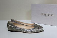 New sz 5 / 35 Jimmy Choo Alina Silver Glitter Pointed toe Flat Slip on Shoes