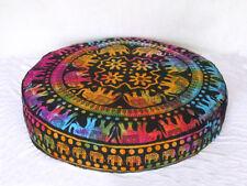 Indian Handmade Round Multi Mandala Floor Pillow Room Decorative Cushion Cover