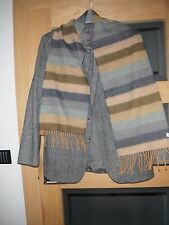 Unworn Calzeat Of Scotland 100% Lambswool Scarf - Striped With Fringe.