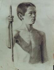 """""""L'ENFANT AU BATON"""" Dessin au crayon noir Atelier J. A. PERROUD vers 1890"""
