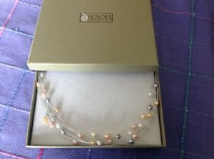 """Estate HONORA 12-Strand Dyed  Fresh Water Pearls Strung on Monofilament 18"""" 925"""