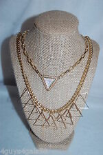 Costume Jewelry LOT OF 2 NECKLACE Gold Tone Chain TRIANGLES Clear Rhinestone Gem