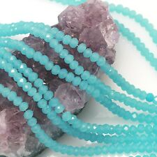100 pcs 4mm Chinese Crystal Glass Beads Faceted Rondelle Baby Blue Agate