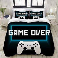 3D Game Over Bedding Set Doona Duvet Cover Pillow Case Quilt Cover Video Gamer