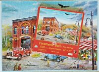 SunsOut FIREMEN'S BALL Ray Mertes Fire Firefighter Jigsaw Puzzle 1000 Piece Rare