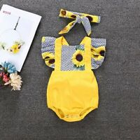 Newborn Infant Baby Girl Clothes Jumpsuit Romper Bodysuit + Headband Outfits Set