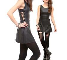 Hot Topic Black Rubberized Laced Up Bondage Mini Tank Dress Visual Kei Punk Goth