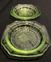"Set of 2 - Anchor Hocking PRINCESS Green Depression Glass 4 1/2"" Coasters"
