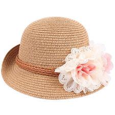 Toddlers Infants Baby Girls Flower Summer Straw Sun Beach Hat Cap 0hau Brown