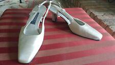 Stuart Weitzman Cream Fabric Evening Shoe With Jeweled Embellishment Size 9 1/2