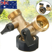 2Way Brass Hose Pipe Valve Splitter Y shaped Connector Adaptor Durable Tap set