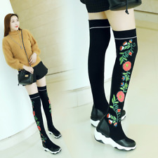 Womens Embroidery Floral Knitted Stretch Over Knee Boots Shoes Sneakers Platform