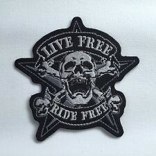 Iron On/ Sew On Embroidered Patch Badge Live Free Ride Free Biker Skull Cross