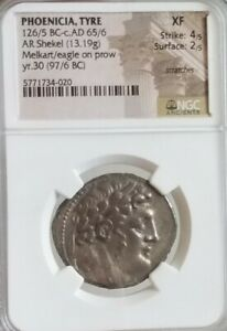 Phoenicia, Tyre Shekel Melkart Eagle NGC XF Ancient Silver Bible Coin