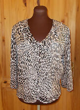 COUNTRY CASUALS beige black SILK chiffon 3/4sleeve blouse tunic top 14 42 Petite