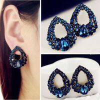New Women Lady Charm Drop Crystal Blue Rhinestone Earring Stud Dangle Earrings