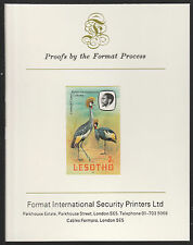 Lesotho (493) 1981 Crowned Crane 3s imperf on Format International PROOF  CARD