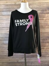 Ideology Womens Sz Medium Black Family Strong Breast Cancer Research Sweatshirt