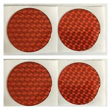 ALLOY WHEEL CENTRE CAP STICKERS DOMED RESIN X4 BRIGHT RED HOLOGRAM 60mm All Size