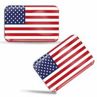 3D Silicone USA American America Flag Stickers Decals Car Emblem Badge Silver