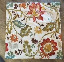 "POTTERY BARN FALL CREWEL EMBROIDERED PILLOW COVER 24"" X24"""