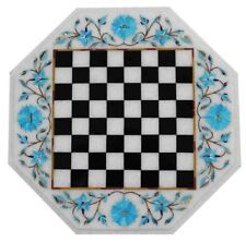 white marble chess game Table Top pietra dura inlay marquetry inlay work