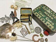 Antique 30s ROWNTREES Gums Pocket tin + Miniature Lady Razor Tin +lots of smalls