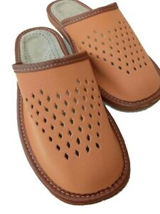 Mens Leather Slippers BROWN  Mules  Sandals All Sizes 7 8 9 10 11 12