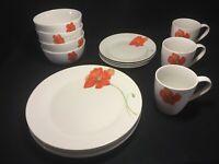 "CORSICA  ""Poppy"" Porcelain Plates Bowls Coffee Tea Cups Mugs White Orange Floral"