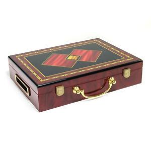 Hi-Gloss Wooden 300 Chip Poker Case (2 Diamonds Design)