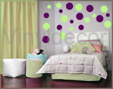 264 POLKA DOTS Wall decals Stickers key lime & violet