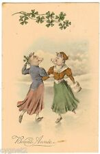 POSTCARD PIGS ICE SKATING WITH NEW YEAR'S GREETINGS 1915
