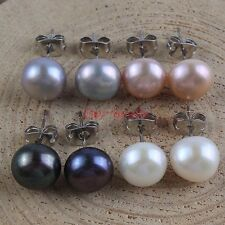 Classic Genuine 9-10mm Multicolor Freshwater Pearl Women's Stud Earrings Jewelry