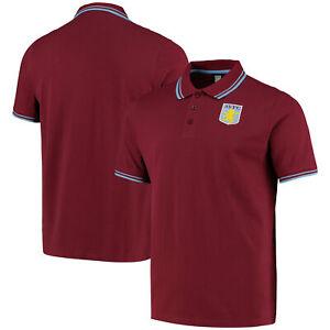 Aston Villa Essentials Short Sleeve Tipped Polo Shirt Top Claret - Mens