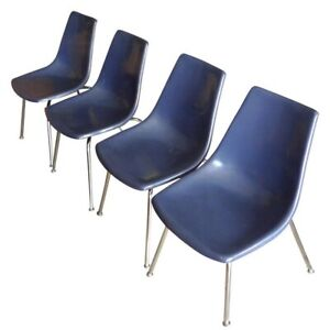 Dining Chairs of Blue Fiberglass with Chrome Frames from Kreuger, Set of 4