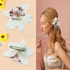 Haarblume Haarblüte Haarschmuck Orchidee Haarspange Haarklemmen Haarclip Weiß