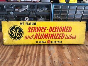 Vintage, original GE television tube advertising sign, metal, 2-sided, 1950's