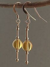 Round CITRINE Gemstones 14ct Rolled Gold Drop Earrings