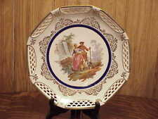 Antique HP German Couple JBL Reticulated Charger Cabinet plate Deep Dish 10""