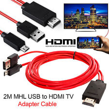 Android MHL Micro USB to HDMI Cable 1080p HDTV Lead Red 2 Meters Samsung LG HTC