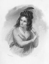 Walter Scott, Peveril of the Peak PRETTY GIRL FENELLA ~ 1833 Art Print Engraving