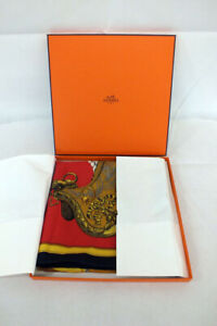Vintage Hermes Grand Apparat Scarf Jacques Eudel Black Red Gold with Box