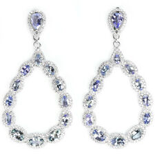 EXQUISITE! GENUINE AAA BLUE VIOLET TANZANITE & WHITE CZ .925 SILVER EARRINGS