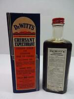 ANTIQUE 1930'S UNOPENED DeWITT'S CREOSANT COUGH SYRUP MEDICINE BOTTLE