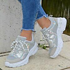 Damen Schuhe Sneaker Silber Grau Plateau Glitzer Sport Freizeitschuhe Keilabsatz